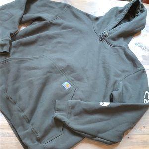 Men's army green Carhartt hooded sweatshirt
